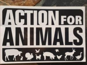 """このステッカーももらったよ。""""ACTION FOR ANIMALS"""""""